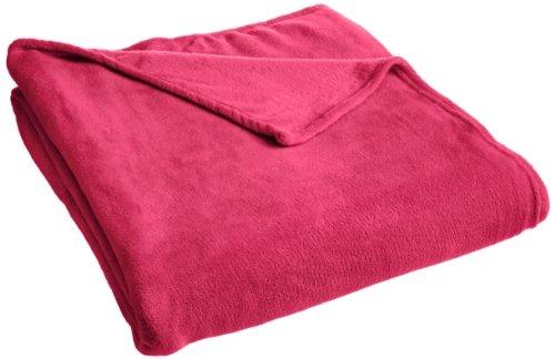 Rampage Plush Blanket, Twin, Raspberry Pink front-419189