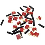Sunkee 10 Pairs Ultra T Plug Connectors Deans Style For RC LiPo Battery Male and Female + Shrink Tubing (20-Pack) Set