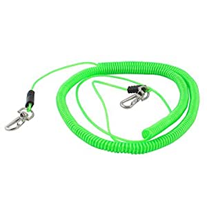 Angling Fishing Rod Safety Stretchy Coiled Lanyard Rope Cord 8M Green