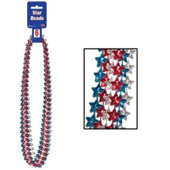 Star Beads (asstd red, silver, blue) Party Accessory  (1 count) (6/Card)