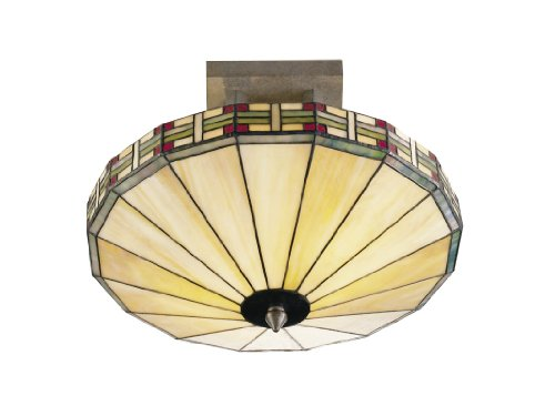 Dale Tiffany 8644/2LTF Mission Umbrella Light Fixture, Antique Bronze and Art Glass Shade
