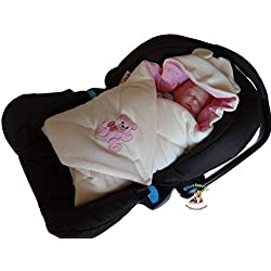 Blueberry Shop Hooded Warm Thermo Terry Swaddle For Car Seat Wrap Blanket Duvet Sleeping Bag Gift Present Pink