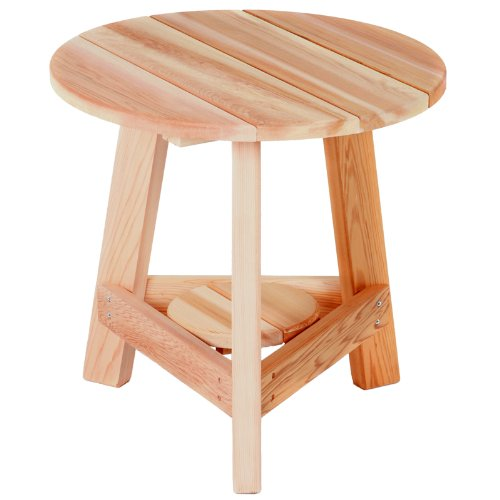 Western Red Cedar Tripod Side Table - 3 Leg Round Side Table - Patio and Garden Furniture