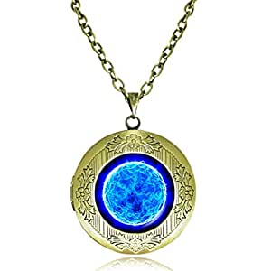 Us-DeSiGn : Blue Sun Pendant necklace space locket necklace turquoise