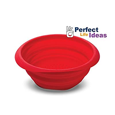 Silicone Collapsible Colander Mesh Strainer Drainer for Pasta Vegetables Fruit - Space Saving Design Folds Down Flat for Storage - Durable Dishwasher Safe. Brand: Perfect Life Ideas -Tm®