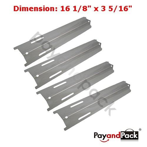 92411 (4-Pack) Universal BBQ Replacement Gas Grill Stainless Steel Heat Plate For Charbroil, BBQ Grillware, Kenmore Sears, Perfect Flame, K-Mart, North American Outdoors Bass Pro Shops, Lowes Model Grills