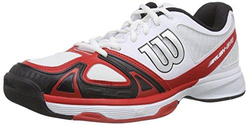 WilsonRUSH EVO - Scarpe da Tennis Uomo , Multicolore (Mehrfarbig (WHITE/WILSON RED WILSON/BLACK)), 44