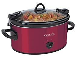 Crock-Pot Cook\' N Carry 6-Quart Oval Manual Portable Slow Cooker, Red, SCCPVL600-R