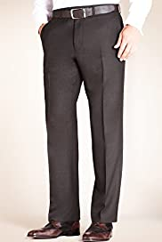 Big & Tall Luxury Sartorial Pure Wool Flat Front Twill Trousers