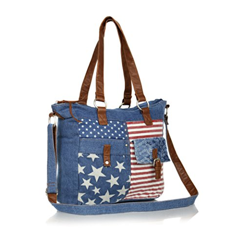 Vintage Stars and Stripes Jean Tote Bag, Cute Americana Style Denim Slouch Purse