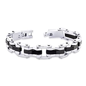 Peora Valentine Stainless Steel Industrial Black Stripe 2 Tone Men Link Bracelet w/ Fold Over Clasp (PSB662) available at Amazon for Rs.1400