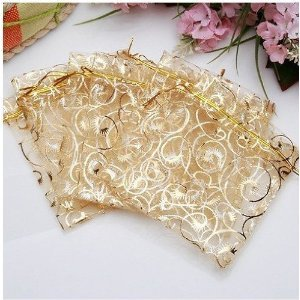 Gold Wedding Gift Bags : 50 White Gold Organza Pouch Jewellery Wedding Favor Gift Bag: Amazon ...