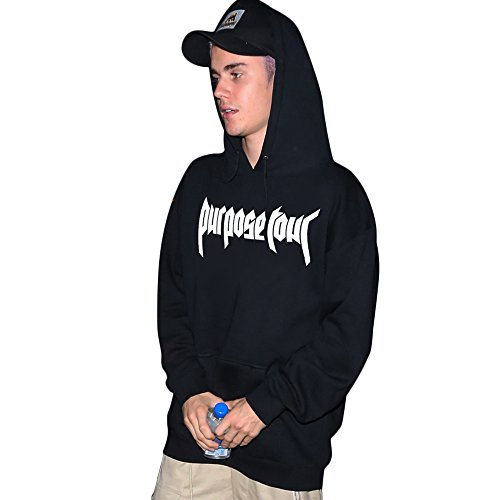 Purpose Tour Felpa Con Cappuccio Nero Justin Bieber Merch (L)