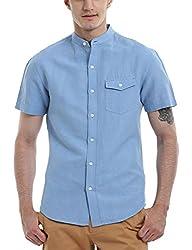 Zobello Men's Madarin Collar Linen Shirt(11087B_Maya Blue_Large)