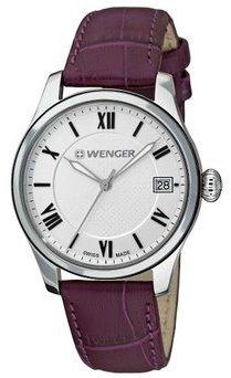 Wenger 60.0521.103 Women's Terragraph Silver Dial Purple Leather Strap Interchangeable Watch