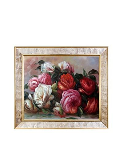 Pierre Auguste Renoir's Discarded Roses Framed Hand Painted Oil on Canvas, Multi, 26 x 30