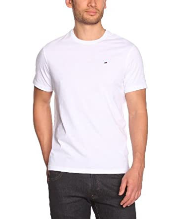 Hilfiger Denim - Hanson - T-shirt - Uni - Col rond - Manches courtes - Homme - Blanc (Classic White) - FR : Small (Taille fabricant : S)