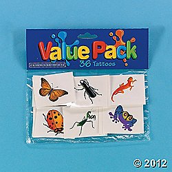 Insect and Reptile Tattoos (36 ct) (36 per package) - 1