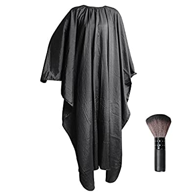 Beautyours [ Hair Cutting Cape & Neck Duster 2PCS Set] Professional Salon Hairdressing Gown Barbers Black