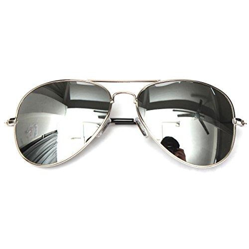 Leggeri UV400, sportivi, da uomo, colore argento a specchio Pilot Aviator-Occhiali da sole in metallo con sfumature Silver frame mercury(#01)