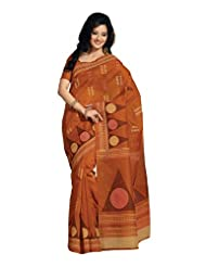 Fabdeal Indian Wear Brown Cotton Printed saree