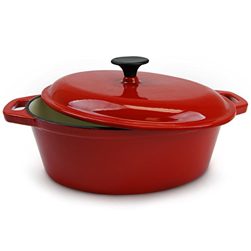 Huswell Enameled Cast Iron Oval Dutch Oven, Casserole Dish, 5 Quart, Red (Oven Dish Small compare prices)