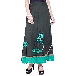 TUNTUK Women's Chhavi Skirt Green Cotton Skirt