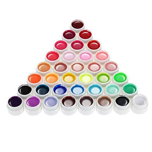 Anself 36 colori Nail Art pigmento Set UV Gel Polish colla solida