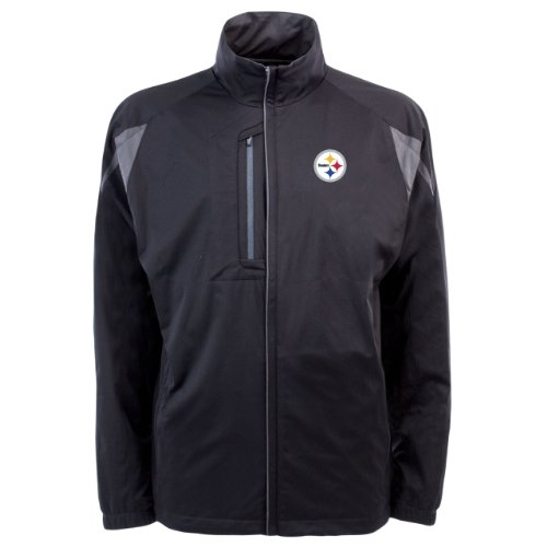 NFL Men's Pittsburgh Steelers Desert Dry Full Zip Jacket (Black/Gunmetal, Small)