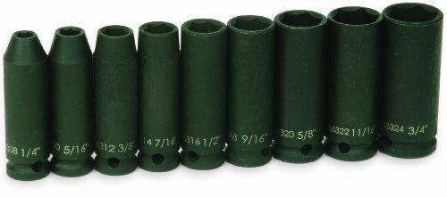 Jh Williams 36904 9-Piece 3/8-Inch Drive Deep 6 Point Impact Socket Set