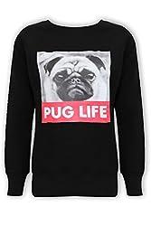 Sofias Closet Womens Pug Life Jumper Sweater Top Dogs Cute Graphic Girls Puppy Slogan Logo