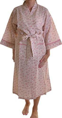Dannii Matthews Nightwear 100% Combed Cotton Floral Wrapover Kimono Dressing Gown Robe, Pink, Medium