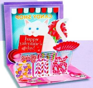 Valentine's Day Greeting Card - Candy Shop Cat Valentine Pop-Up