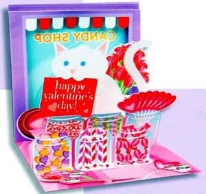 Valentine's Day Greeting Card - Candy Shop Cat Valentine Pop-Up