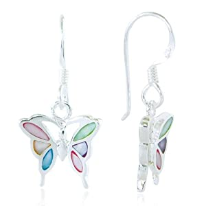 Sterling Silver Multi-Colored Mother of Pearl Shell Butterfly Dangle Earrings