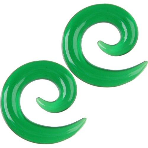 Pair of Glass Spirals: 000g Emerald