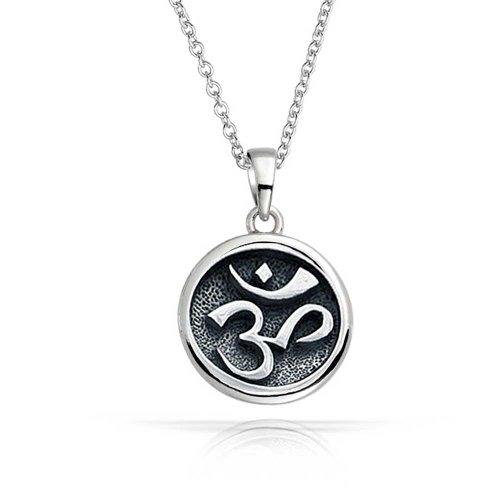 Bling Jewelry 925 Sterling Silver Medallion rotonda del pendente della collana Om Aum 18in