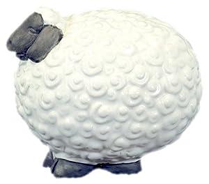 UTC 78040 Small White Ceramic Lamb with Cotton Sheep