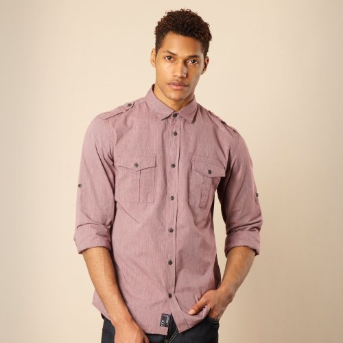 Ffp Maroon Fine Striped Casual Shirt