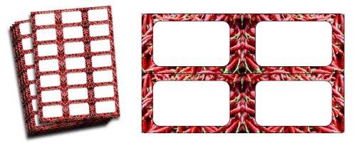 Rouge piment étiquettes pour bocaux de confiture Lot de 63)