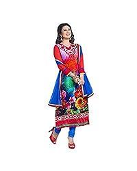 CreationBuddy RED,FLOWER Satin Salwar Suit Dress Material Straight Festive