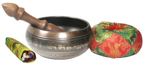 Exquisite 4 Inch Tibetan Singing Bowl Made in Nepal with Wooden Striker, Sati...
