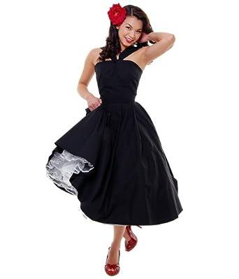 """Unique Vintage """"Halter Back To The 50's"""" Cotton Swing Dress-Black -L"""