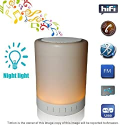 Super Quality -Timlon Wireless Bluetooth Speakers with LED Table Lamp Night Light Touch Lamp Smart Music Lamp Camping Lantern Speaker with Stereo sound for Smart Phones, Tablet, PC -White