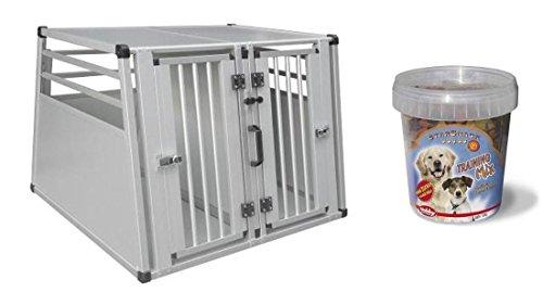 Hundebox-92-x-88-x-68-cm-Autobox-mit-Trainings-Leckerlie-zum-ben-Transportbox-Transportkfig-Alubox-Kofferraum-Box-Aluminium-Doppelbox-mit-Trennwand