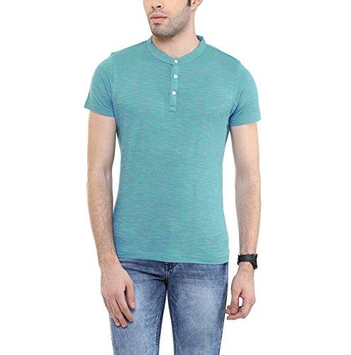 American-Crew-Mens-Henley-Half-Sleeve-Slub-T-Shirt-Blue