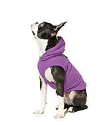 Gooby Every Day Fleece Cold Weather Dog Vest with Hoodie for Small Dogs, Purple, Small