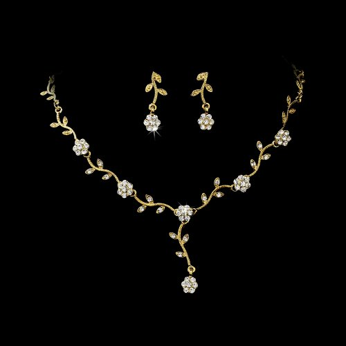 Gold Clear Floral Rhinestone Crystal Bridal Wedding Necklace Earring Set