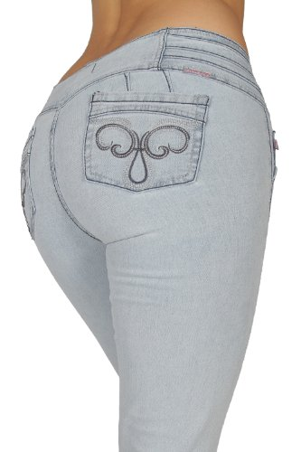 U-Turn Style 305 Wide Waisband Butt Lifting Colombian Style Skinny Leg Denim in Ice Size M