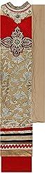 Preety Women's Net Semi Stitched Dress Material (PW060, Golden)